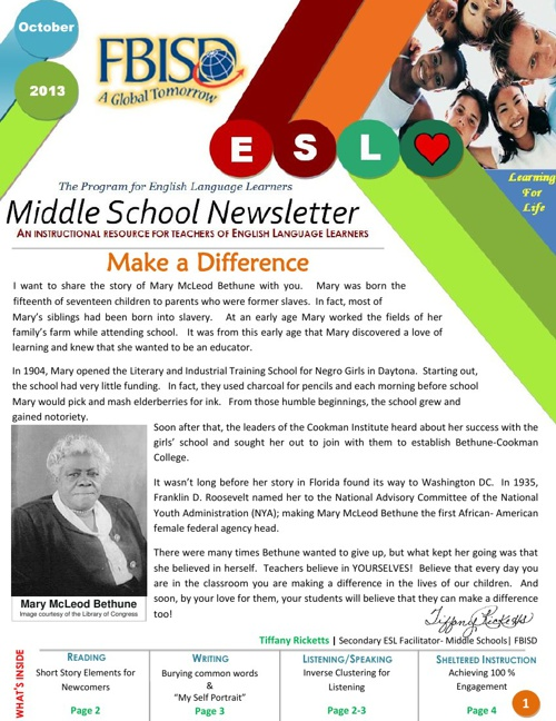 The Program for English Language Learners MS Newsletter- October