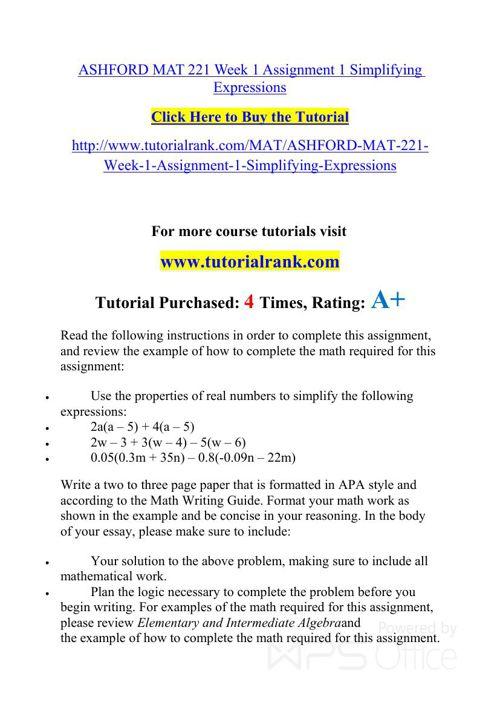 MAT 221 ASH Courses /TutorialRank