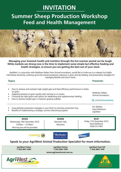 AgriWest - Sheep Production Workshop