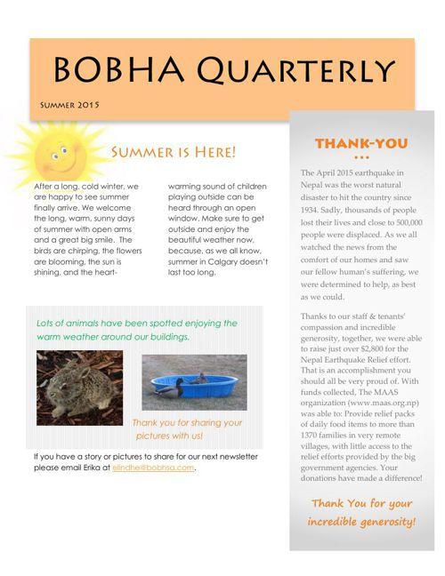 BOBHA summer 2015 newsletter