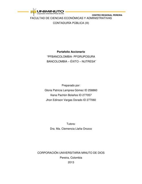 PORTAFOLIO DE ACCIONES UNIMINUTO