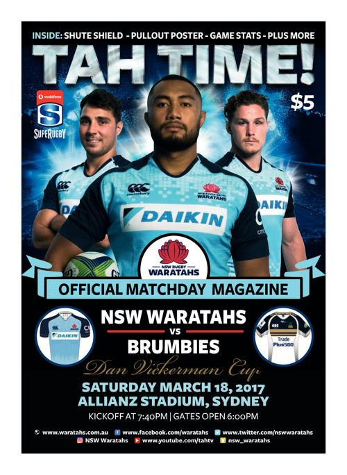 2017 WARATAHS V BRUMBIES OFFICIAL MATCH PROGRAM
