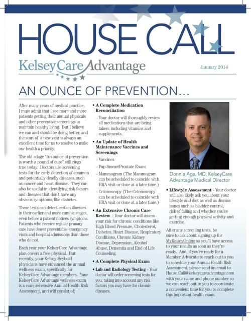 KelseyCare Advantage 2014 Q1 MAPD Member Newsletter
