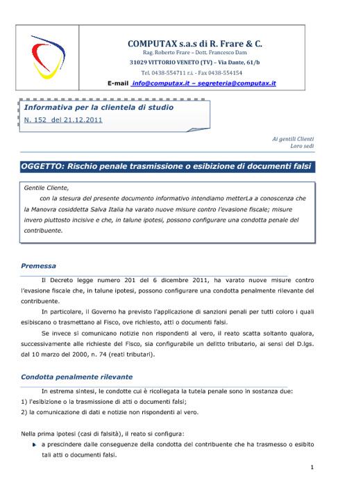 Sanzioni penali per false informazioni - n.152