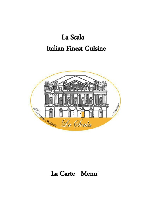 La Scala A La Carte Menu