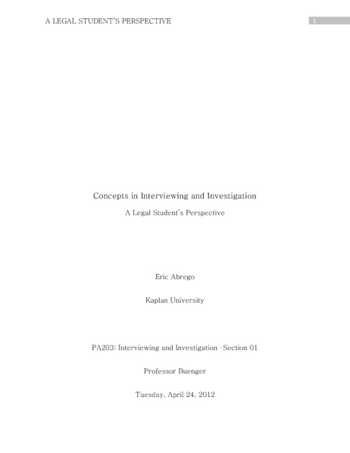 Concepts in Interviewing and Investigation