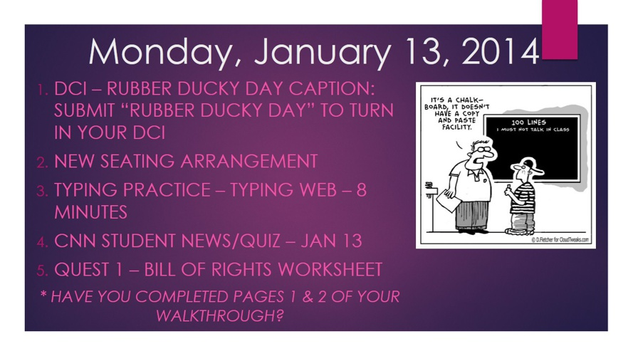 Lesson Plans - Week of January 13 - January 17, 2014