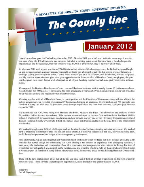 The County Line Newsletter - Jan 2012