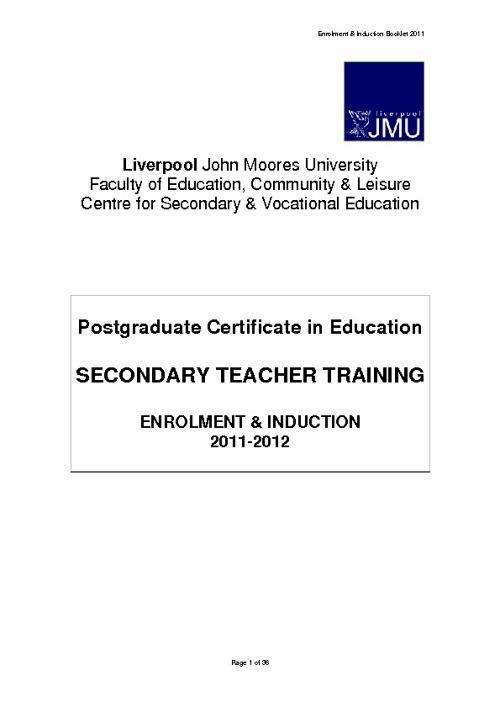 PGCE Secondary Enrolment & Induction Handbook 2012