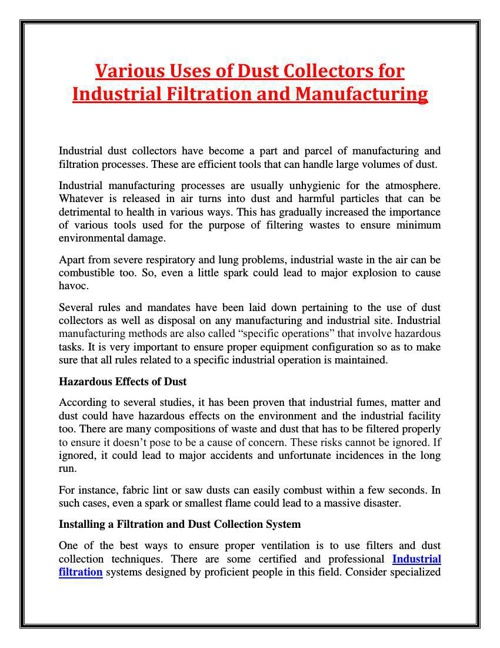 Various Uses of Dust Collectors for Industrial Filtration and Ma