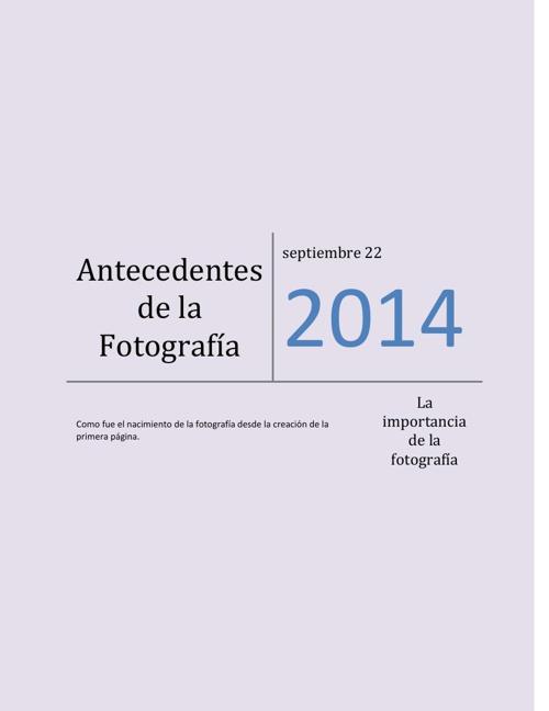 Antecedentes de la Fotografía Andrea Olea