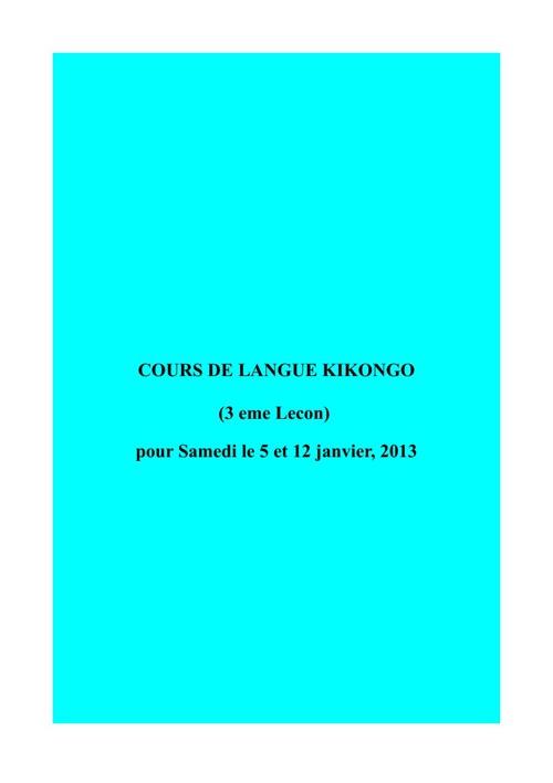 COURS DE LANGUE KIKONGO Leçon 3(1)