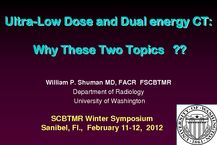Low Dose & Dual Energy CT Syllabus