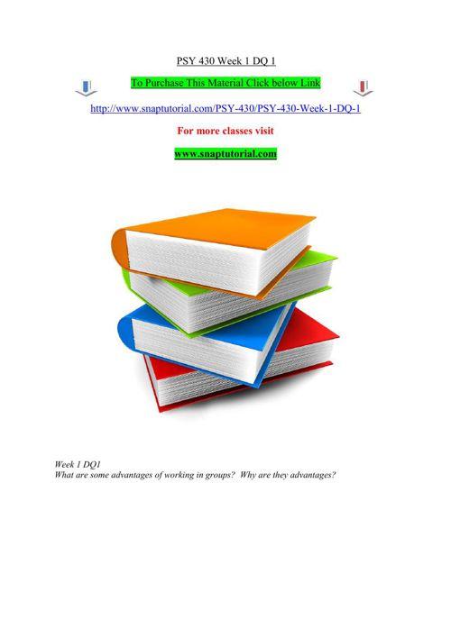 PSY 430 Week 1 DQ 1