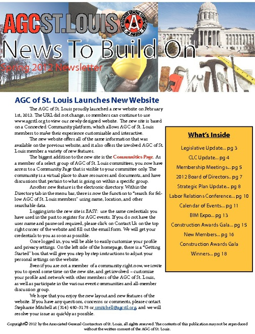 News To Build On, Spring 2012 Issue