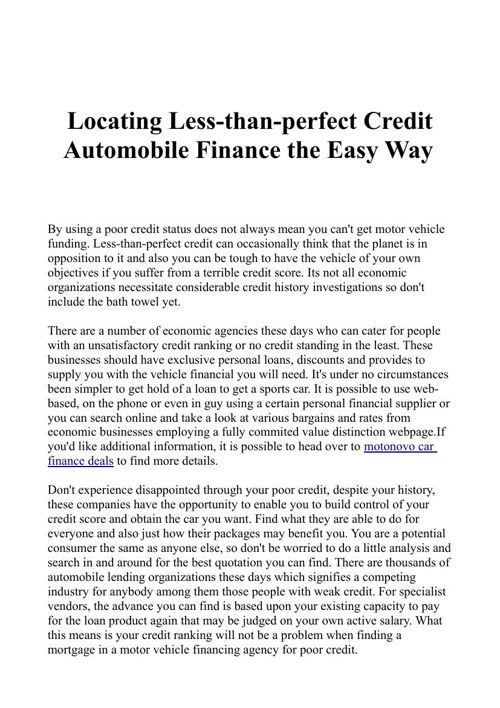Locating Less-than-perfect Credit Automobile Finance the Easy Wa