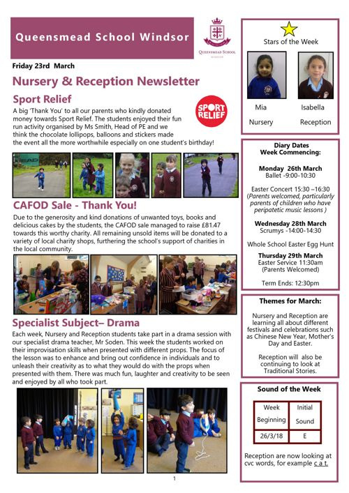 Nursery and Reception News 23rd March 2018