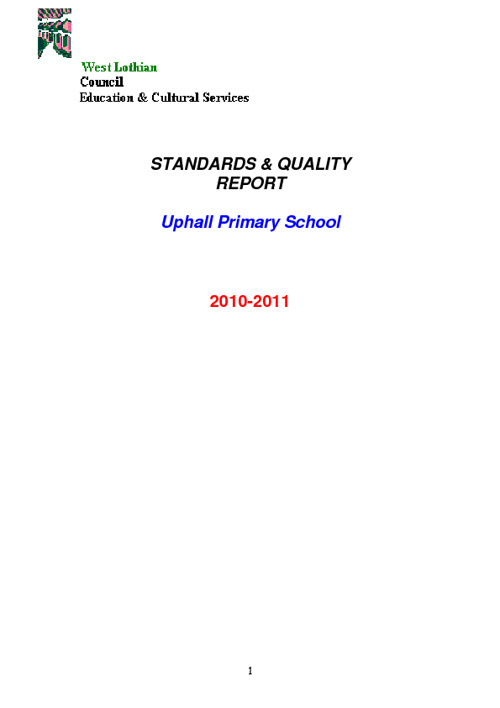 Standards and Quality Report