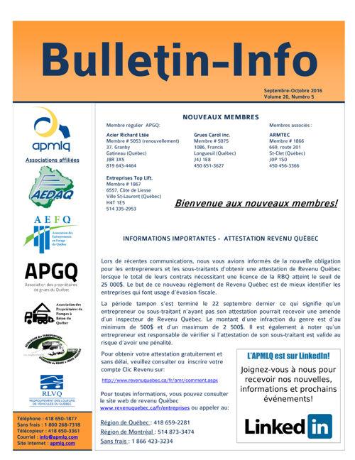 Bulletin-Info Septembre - Octobre 2016