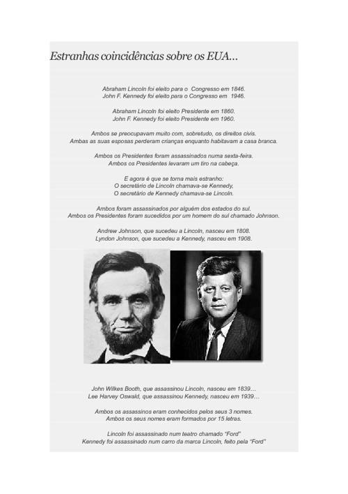 Estranhas coincidências sobre os EUA