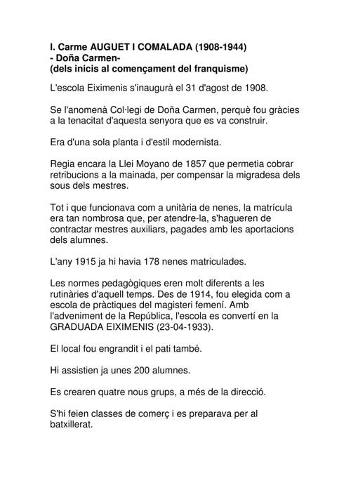 PERÍODES EVOLUTIUS DE L'EIXIMENIS