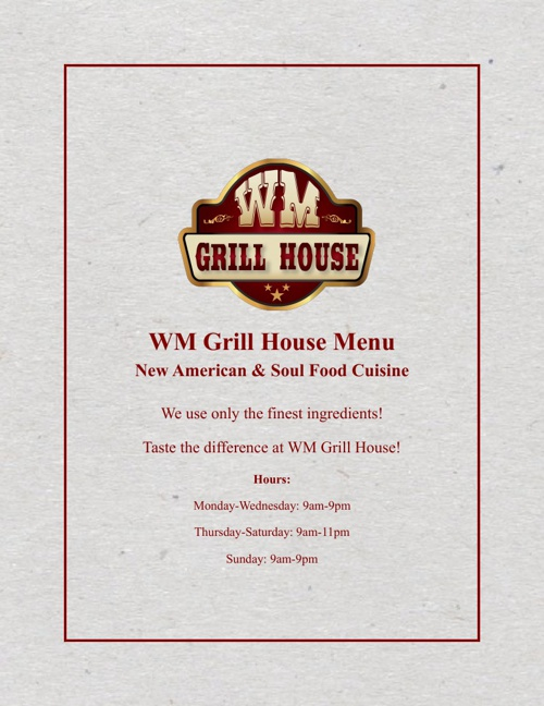 WM Grillhouse Menu