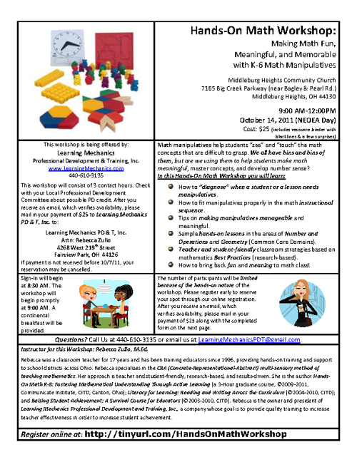 Hands-On Math Manipulatives Workshop K-6