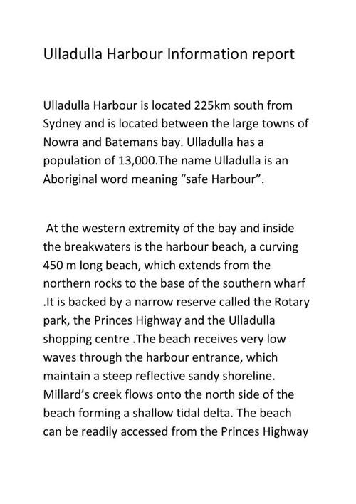 Ulladulla Harbour Information report