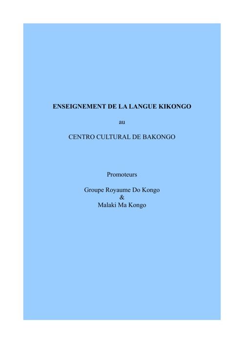 COURS DE LANGUE DE KIKONGO du 05 au 12 jan.2013