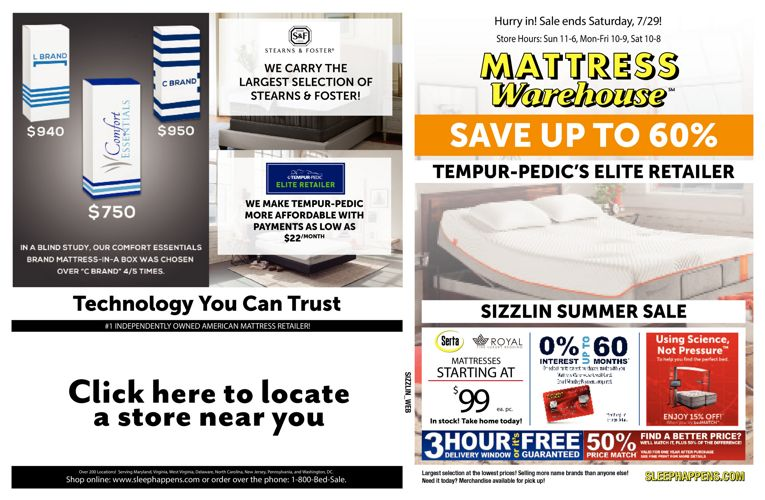 Mattress Warehouse Sizzlin Summer Sale