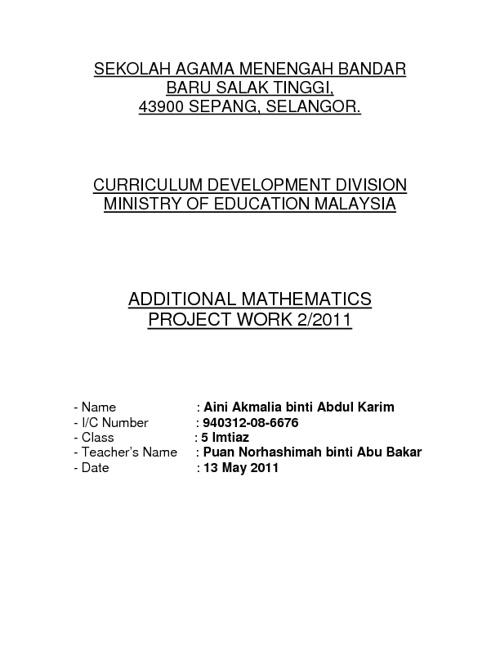 Additional Mathematics Project Work 2/2011 {Solution}
