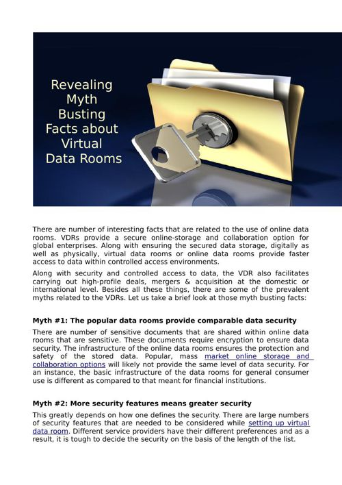 Revealing Myth Busting Facts about Virtual Data Rooms