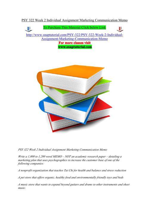 PSY 322 Week 2 Individual Assignment Marketing Communication Mem