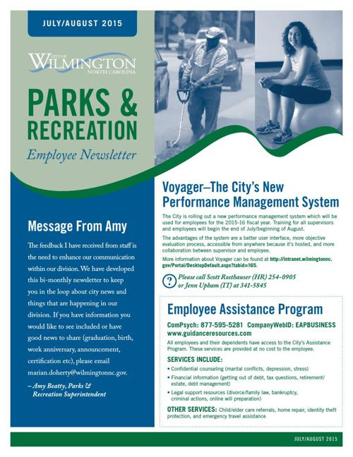 Parks & Recreation Employee Newsletter July & August