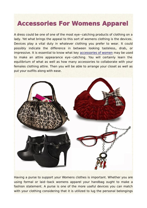 Accessories For Womens Apparel