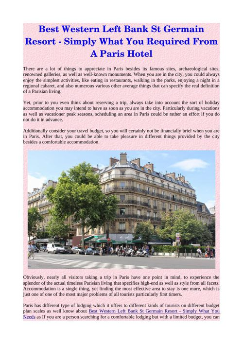 Best Western Left Bank St Germain Resort - Simply What You Requi