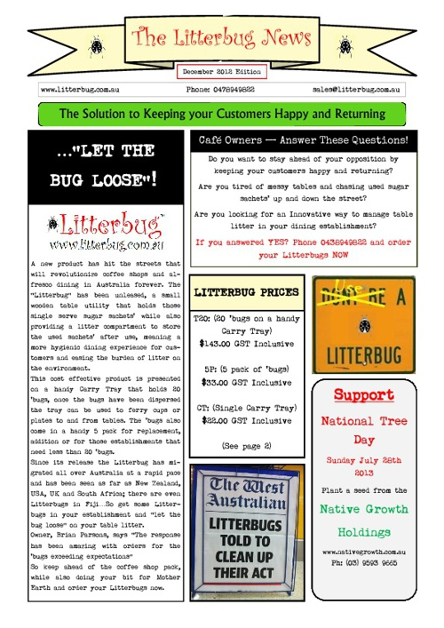 Litterbug news dec