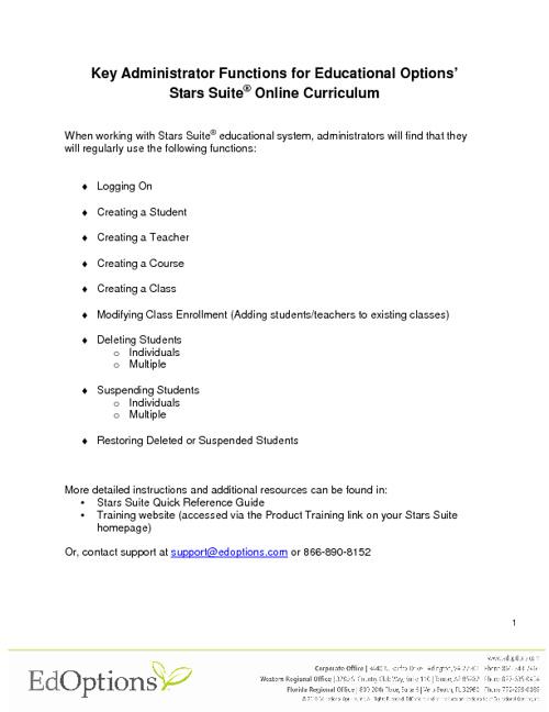 Admin QuickStart EdOptions