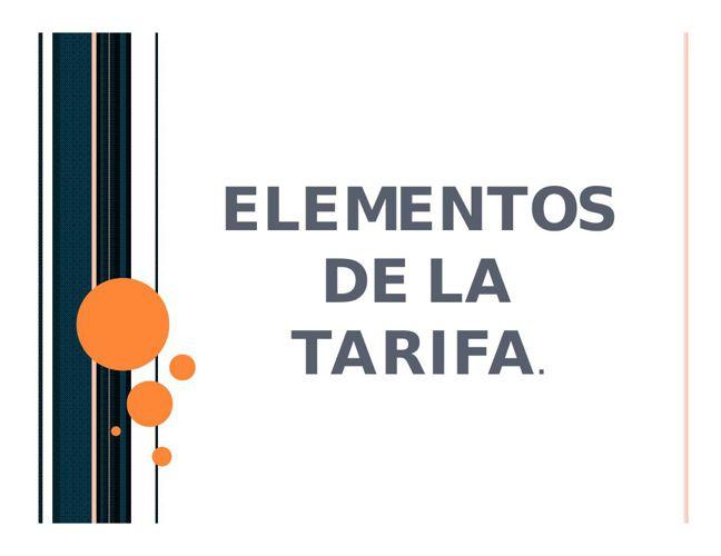 Elementos de la tarifa
