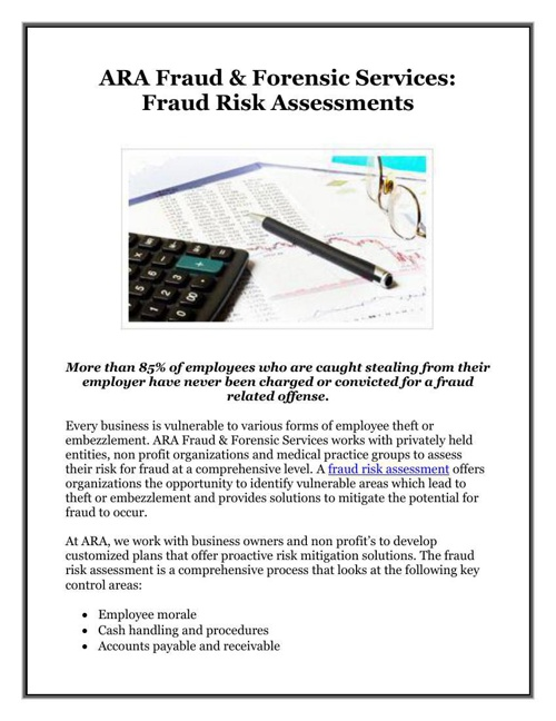 ARA Fraud & Forensic Services: Fraud Risk Assessments