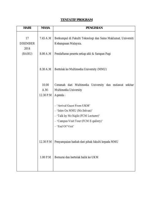TENTATIF PROGRAM LAWATAN INDUSTRI