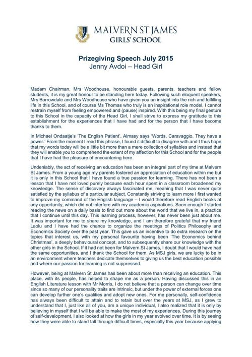 Jenny Avdoi Prizegiving Speech July 2015
