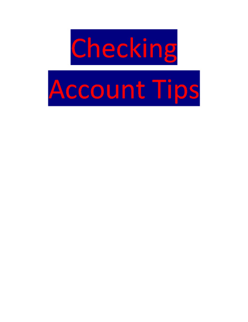 Checking Tips