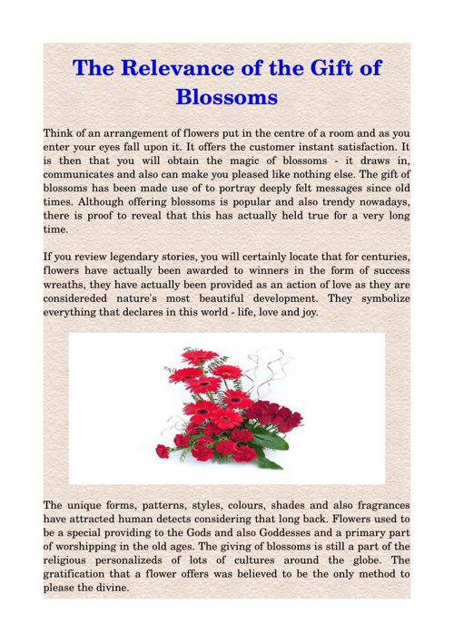 The Relevance of the Gift of Blossoms