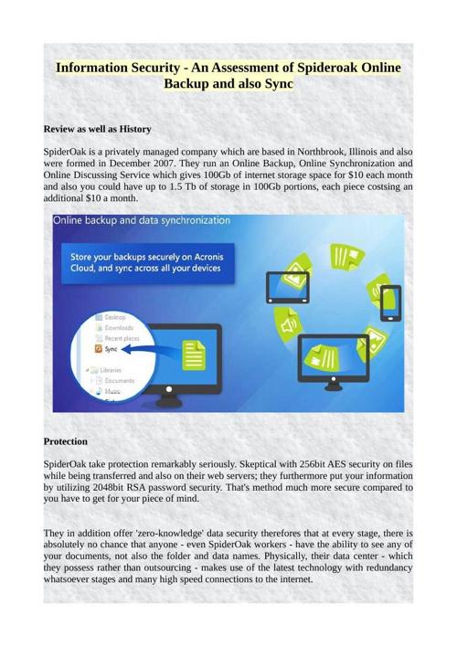 Information Security - An Assessment of Spideroak Online Backup