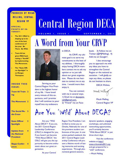 September Newsletter DECA