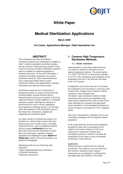 Medical Sterlization - white papers