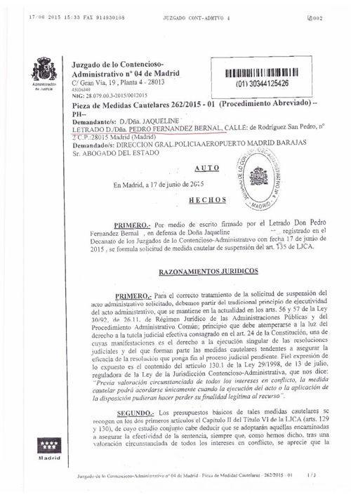 entrada españa medida cautelar 2015 estimada a FBernal Abogados