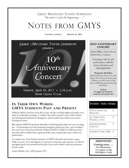 GMYS Newsletters