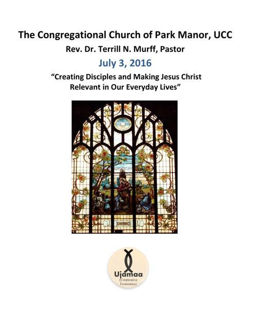 The Congregational Church of Park Manor Sunday Bulletins